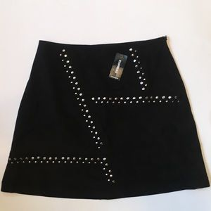 EXPRESS NWT Black and Metal Stud Faux Suede Skirt